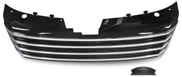 Sport Kühlergrill Grill ohne Emblem schwarz mit chrom für VW Passat B7 Typ 36