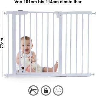 Tür Treppenschutzgitter Metall weiß verstellbar 77cm hoch 101-114cm