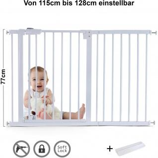 Absperrgitter Treppenschutzgitter Metall weiß + Rampe 115 -128cm 77cm hoch