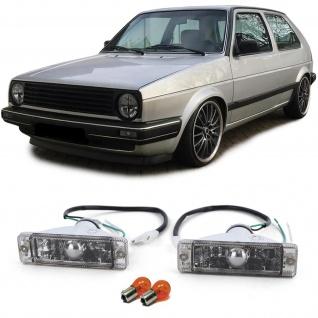 Klarglas Blinker mit Standlicht Schwarz Smoke für VW Golf 1 2 Jetta 1 2 Polo 86C