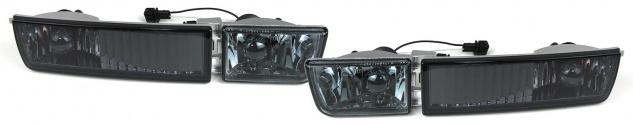 *** Klarglas Nebelscheinwerfer H3 mit Blinker schwarz smoke Set für VW Golf 3 91-97