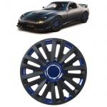 Radkappen Radzierblenden Tenzo-R X für Stahlfelgen 14 Zoll schwarz blau