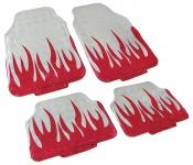 Auto Fußmatten Set universal Alu Riffelblech Optik Flammen 4-teilig chrom rot