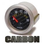 Volt Anzeige Voltmeter Zusatz Instrument 52mm Carbon