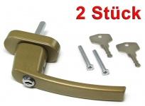 Sicherheits Fenstergriff Griffe abschließbar aus Metall gold 2 Stück