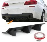 Universal Heck Diffusor für Stoßstange hinten mit 3 Finnen Carbon Optik