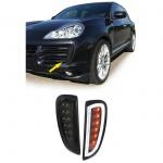 Klarglas LED Blinker mit Tagfahrlicht schwarz smoke für Porsche Cayenne 06-10