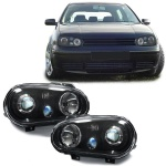 Klarglas Scheinwerfer R32 Optik schwarz für VW Golf 4 97-03