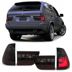 LED Lightbar Klarglas Rückleuchten rot schwarz smoke für BMW X5 E53 99-03
