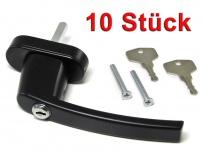 Sicherheits Fenstergriff Griffe abschließbar aus Metall schwarz 10 Stück