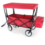 Faltwagen Handwagen Bollerwagen faltbar mit Dach und Tasche bis 80kg Rot