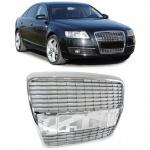 Sport Kühlergrill ohne Emblem chrom für Audi A6 C6 Limo Avant 04-11