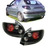 Klarglas Rückleuchten schwarz für Peugeot 206 3 + 5 Türer 98-03