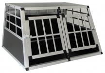 Alu Hunde Tier Reise Auto Transport Box mit Doppeltür XL 89x69x50cm
