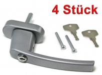Sicherheits Fenstergriff Griffe abschließbar aus Metall silber 4 Stück