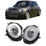 LED Lightbar Scheinwerfer chrom mit Motor für BMW Mini Cooper R55 R56 R57 ab 06
