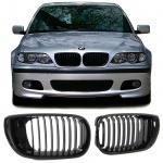 Sport Kühler Grill Nieren schwarz glänzend für BMW 3ER E46 Limousine Touring