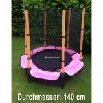 Trampolin 140 CM Komplett mit Sicherheitsnetz pink