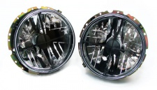 Schwarze Klarglas Scheinwerfer mit Fadenkreuz für VW Golf 1 + Cabrio