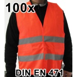 100 Stück KFZ Warnweste Sicherheitsweste Pannen Unfallweste orange DIN EN 471
