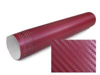 3D Carbon Folie selbstklebend 30cm *1.524 Meter dunkel rot