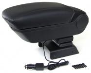 Gepolsterte Mittelarmlehne klappbar mit Staufach + 2 USB für VW Polo 6R 6C ab 09