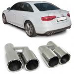 Sport Auspuff Endrohre Blenden Edelstahl 76mm rund Paar für Audi A4 B8 07-15