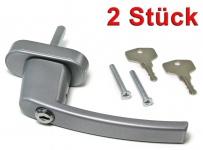 Sicherheits Fenstergriff Griffe abschließbar aus Metall silber 2 Stück
