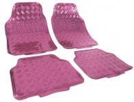 Auto Gummi Fußmatten universal Alu Riffelblech Optik chrom pink