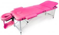 Massageliege Tisch Bank Leder Gepolstert verstellbar mit Transporttasche pink