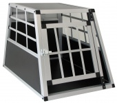 Alu Hunde Tier Reise Auto Transportbox mit Tür XL 69x50x54cm