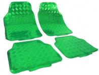 Auto Gummi Fußmatten universal Alu Riffelblech Optik chrom grün