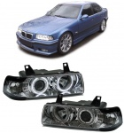 Klarglas CCFL Angel Eyes Scheinwerfer chrom für BMW 3ER E36 Limousine Tourimg