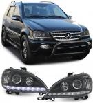 Klarglas Scheinwerfer DRL Tagfahrlicht Optik schwarz für Mercedes ML W163 02-05