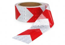 SIGNAL WARN ABSPERR BAND PVC SELBSTKLEBEND REFLEX PFEILE ROT WEISS 5cmx10m