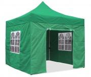 Premium Garten Falt Pavillion Party Zelt mit 4 Seitenwänden 2 Fenster 3x3m grün