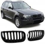 Sport Kühlergrill Nieren schwarz glänzend für BMW X3 E83 03-06