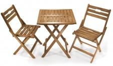 Balkon Set Baleares aus 1x Tisch 2x Stühle klappbar Akazienholz braun