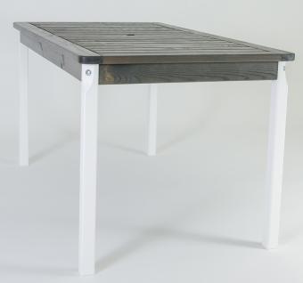 Massivholz Tisch EVJE Nordisches Design Esstisch Weiß/Taupegrau, ca. 135 x 77 x 70 cm