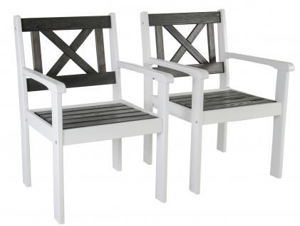 2er Set Massivholz Sessel Gartenstuhl Stuhl EVJE Weiß/Taupegrau
