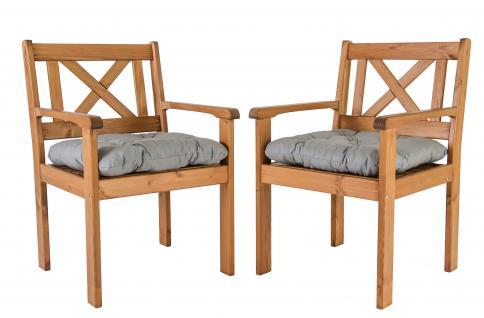 2er Set Massivholz Sessel Gartenstuhl Stuhl EVJE Braun inkl. Kissen