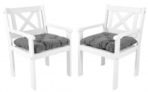 2er Set Massivholz Sessel Gartenstuhl Stuhl EVJE Weiß inkl. Kissen
