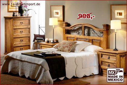 MEXICO Bett Doppelbett, Pinie massiv
