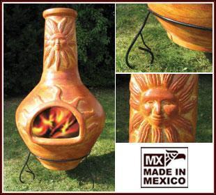 Großer Mexikoofen/Gartenkamin mit Sonne, Mexiko