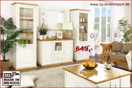 Sideboard Schrank Kommode MEXICO WEISS + HONIG, weiße Pinie massiv Möbel, neu - Vorschau 1