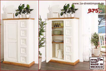 MEXICO Möbel: Schrank Kommode, Pinie weiß + honigfarbig, massiv montiert, shabby - Vorschau