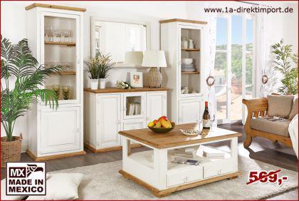 Couchtisch / Wohnzimmertisch MEXICO, weiß, shabby Möbel, weisse Pinie massiv