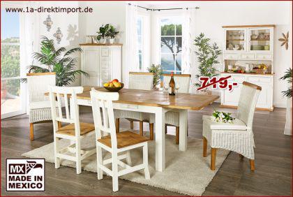 """Esstisch Tisch """"MEXICO Weiß / Honig"""" ausziehbar, Pinie massiv, Shabby Möbel, neu"""