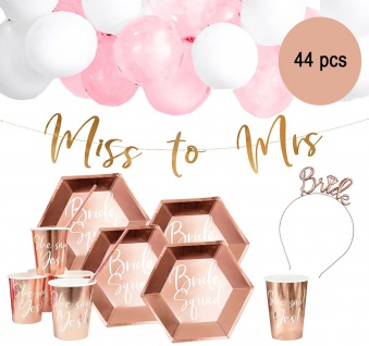 Party-Set Junggesellinnenabschied Bride to be rosé, 44-tlg.