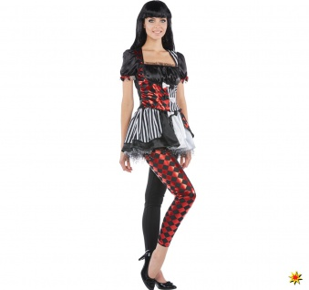 Damen Kostüm Harlekin Clown, Kleid mit Leggings